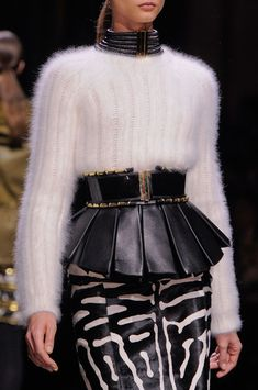 """Balmain Fall 2014 Sweater - Belt - Skirt -  """"O Children of Adam Wear your beautiful apparel at every time and place of prayer: eat and drink: but wast not be excess, for Allah loveth not the wasters."""" Surah Araf, 31"""