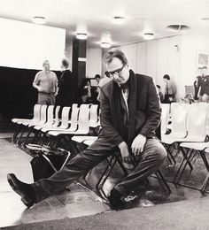 Alan Rickman on the set of Love, Actually (2003)