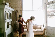 vintage inspired dress + lace cap. Bread Bar, Lale Florals, Laurel & Rose www.laurelandrose.com