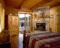 Rustic bedroom - Montana Log Homes Kalispell Montana Log Cabin Living, Log Cabin Homes, Home And Living, Log Cabins, Barn Living, Living Room, Dream Bedroom, Home Bedroom, Cabin Bedrooms