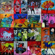Ribbet virtual collage of my works, Elke Trittel, acrylics,collage on board,various sizes