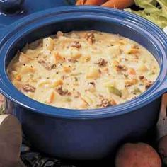 Cheeseburger soup for the slow cooker.  Uses Velveeta - we'll see . . . from http://joyerickson.wordpress.com/2010/11/28/cheeseburger-soup/