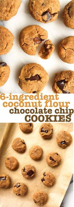 6-ingredient Coconut Flour Chocolate Chunk Cookies! Grain free, dairy free and made with coconut flour. Healthy chocolate chip cookies and they are paleo-friendly.