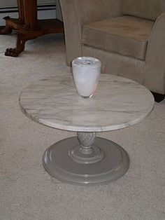 Marble topped coffee table - base is painted Behr Elephant Skin