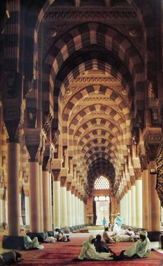 Interior of the Mosque of the Prophet Mohammad (pbuh) in Medina; photograph by Thomas J. Abercrombie, 1970s.
