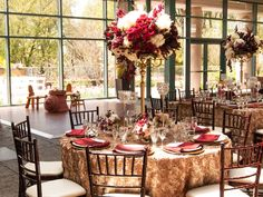 These Red and Gold Damask Details Are Perfect for a Regal Wedding | Photo by: Hewi Images | TheKnot.com