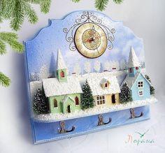 """Купить Часы+светильник+ключница+панно """"Зимнее время"""". - часы настенные, часы, панно, вешалка, миниатюра, миниатюрная композиция"""