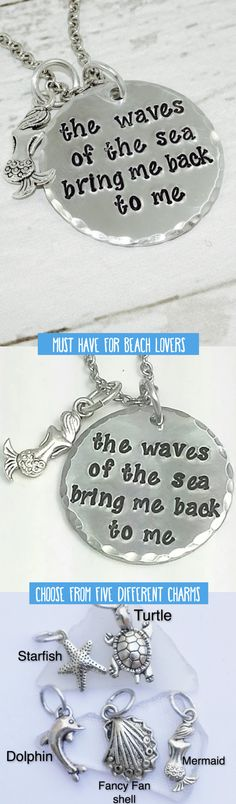 "This necklace is hand stamped with the words ""The waves of the sea bring me back to me."" Channel your inner mermaid with this beautiful pendant. It also makes a beautiful gift for beach lovers or anyone who has a connection to the sea."