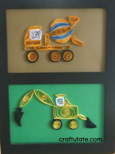 Construction Site Quilled Pictures - Backhoe and Cement Truck from Craftulate