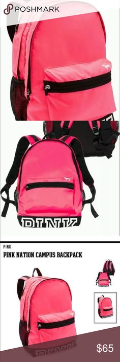 """New Victoria Secret Pink Backpack Product Details Best. Backpack. Ever. Comfy and cute with tons of pockets, the Campus Backpack is an """"it"""" bag that actually holds everything.  Durable fabric Top Stash pocket Interior pocket Padded for laptop Water bottle pocket Comfy shoulder straps Imported polyester  18"""" H x  12"""" W x 8"""" D Victoria's Secret Bags Backpacks"""