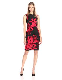 Calvin Klein Womens Sleeveless Scuba Sheath in Floral Print RedBlack 12 * See this great product.(This is an Amazon affiliate link and I receive a commission for the sales)