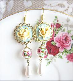 Mint Green Rose Earrings by Jewelsalem, $8.89