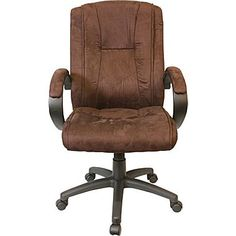 Comfort Products Padded Microfiber Fabric Executive Chair, Dark Brown