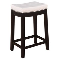 Refresh your kitchen or dining room with this hardwood counter stool, featuring handsome nailhead trim and an upholstered, foam-cushioned seat.