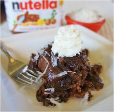 Coconut-Nutella Pudding Cake | AllFreeSlowCookerRecipes.com