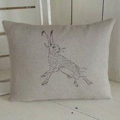 ' Natural Irish Linen Hare ' Cushion