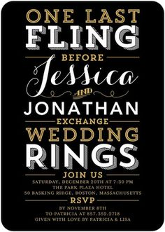 Fling and Rings - Signature White Bachelorette Party Invitations - East Six Design - Black : Front