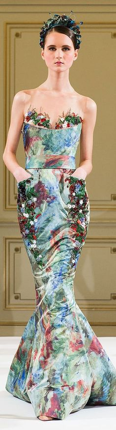 I love the headdress. And the bodice is different and beautiful. Yulia Yanina Couture S/S 2014 V