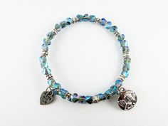 Ocean Angel Swarovski Crystal Expandable Silver Bangle #Bracelet With Cherub Angel and Heart Charms on Etsy, $14.99 #fashion #jewelry