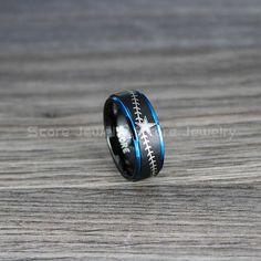 Black Tungsten Wedding Band 8mm Black Tungsten Baseball Ring