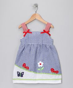 Blue Gingham Butterfly Bow Dress - Toddler