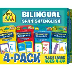 Help your child learn math and language basics in two languages at once! Four colorful flash card sets in this one small package offer 4 times the learning! They're perfect for home and ESL or languag