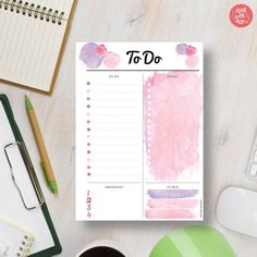 Make your to do list organization fun with this pretty pink watercolor insert that comes in A5/A4/Letter/Half sizes. Why wait? Download the PDF planner printable today! Find more planner inspiration at http://www.etsy.com/shop/stickwithsam   To Do List Printable   To Do List Planner   Printable Planner   Printables