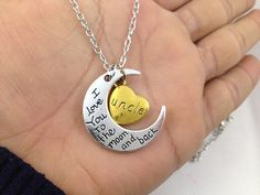 """""""I Love You to the Moon and Back"""" UNCLE Necklace Family Gold Silver Tone Heart #Unbranded #Pendant"""