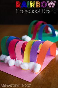 Rainbow Preschool Craft with Elmer�s Early Learners, children, elementary school, #knutselen, kinderen, basisschool, kleuters, regenboog van papierstroken