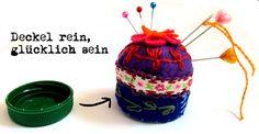 Nadelkissen in Flaschendeckel / Pin cushion in bottle cap