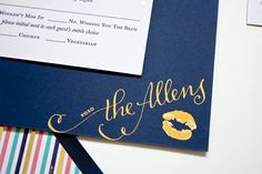 Navy + Gold Foil Calligraphy Wedding Invitations by Plurabelle and Kate Allen via Oh So Beautiful Paper (1)