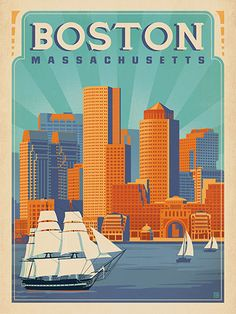 Boston Harbor - Anderson Design Group has created an award-winning series of classic travel posters that celebrates the history and charm of America's greatest cities and national parks. This print features a lovely view of the Boston harbor and skyline. Printed on heavy gallery-grade matte finished paper, this print will look great on any home or office wall.