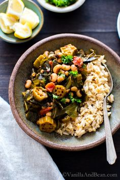 Simple, saucy and over the top flavor in Harissa Stewed Black-Eyed Peas with Okra and Collard Greens, a one pot meal! vegan + gluten free | Dinner | Freezer Friendly | Vegetarian | Recipe