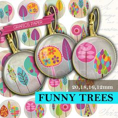 Trees digital collage Sheets  td349P  20mm 18mm by GraphicsPaper