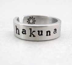 Personlized Lion King Ring - Hakuna Matata - Hand Stamped Aluminum Ring - Customizable. $10.50, via Etsy.