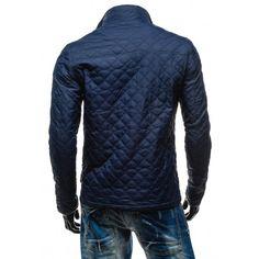 Pánske elegantné prešívané bundy tmavo modrej farby - fashionday.eu