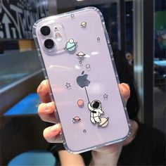 Cute Phone Cases For iPhone 11 Pro Max X XR XS Max 7 8 Plus SE 2020 Transparent Astronaut Cover.