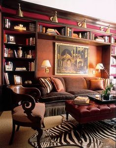 Home Library - Office Space - Interior Design; Lavish home library interior designs that will inspire thought-provoking office spaces. Home Library Decor, Home Library Design, Home Libraries, House Design, Home Decor, Cozy Library, Library Ideas, Library Wall, Dream Library