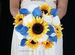 Blue Sunflower Brides Bouquet
