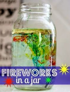 Fun science experiment for New Year's Eve. Make fireworks in a jar! Use household ingredients to create fireworks in a jar! A fun science experiment for kids of all ages that illustrates liquid density. Preschool Science, Science Fair, Science For Kids, Physical Science, Science Classroom, Summer Science, Science Chemistry, Science Area, Science Centers
