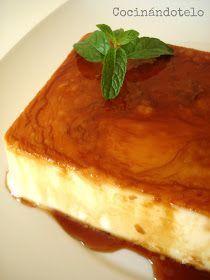 Cocinándotelo: FLAN DE QUESO MASCARPONE (Sin huevos ni horno) 250 de queso mascarpone, 200 ml de nata para montar, 125 ml de lehe, 100 gr de azucar, 1 sobre de cuajada, caramelo líquido. Molde para 750 ml (un tupper  puede servir)