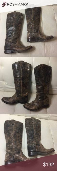 FINAL PRICE!! FRYE BOOTS Used. Size 6. Frye cracked distressed leather style boots Frye Shoes Combat & Moto Boots