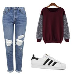 """""""Untitled #110"""" by mollyd284 on Polyvore featuring Topshop, adidas, women's clothing, women's fashion, women, female, woman, misses and juniors"""