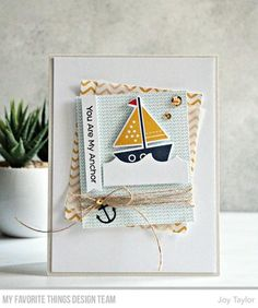card nautical boat ship sailing sailboat anchor MFT You float my boat Die-namics MFT ocean waves Die-namics card nautical sailboat anchor waves Simple By Design Kids Cards, Baby Cards, Fun Cards, Karten Diy, Nautical Cards, Marianne Design, Pretty Cards, Card Sketches, Masculine Cards