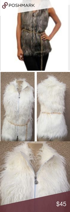 Faux fur Vest Cream Color faux fur vest for this fall is perfect for u. Comes with detachable belt . There is minor discoloration on the hook , shown last pic , not really visible when wearing . 100% polyester . Color is off white , first pic is to show you the looks only . Not actual color . Jackets & Coats Vests