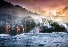 HAWAII. Lava flows into the ocean at Volcanoes National Park in Hawaii. PHOTOGRAPH BY ANDREW RICHARD-HARA. National Geographic Travel editors picked their favorite travel photos published in 2016.