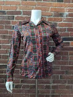 Size Large  1970s womens vintage clothing with long sleeves button up down front collared brown black Paisley Striped Polyester Blouse