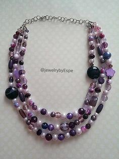 Bridal Necklace Purple Necklace Strand Necklace by JewelrybyEspe