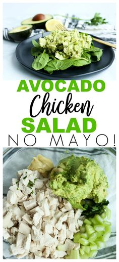Healthy Avocado Chicken Salad Recipe No Mayo #healthy #paleo #lowcarb via @Maryea Flaherty