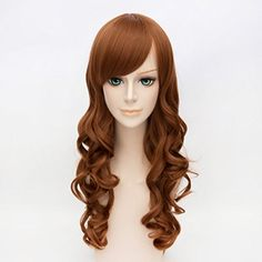 Cosplayvoice 27 Inches Women Curly Brown Party Anime Cosplay Hair Full Wig >>> Click image for more details.